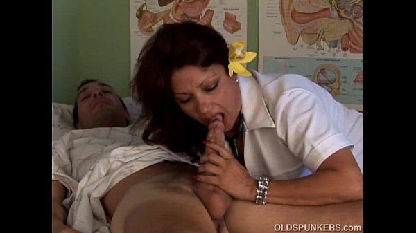 Cute chubby old naughty nursey loves the taste of cum