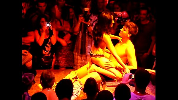 Brunette Audience man Strip Show