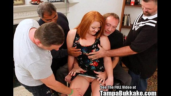 Big tittied ginger Cherry gangbanged and covere...