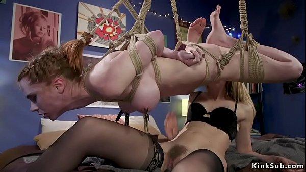 Blonde lesbian anal fucks busty babe