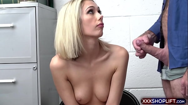 Clueless blonde shoplifter gets punish fucked hard