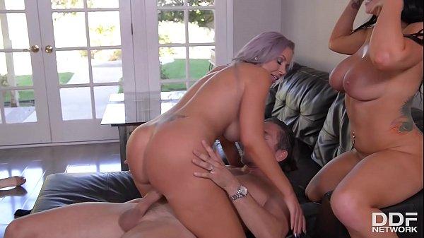 Busty bombshells Romi Rain & Nina Elle get their big round tits fucked hard Thumb