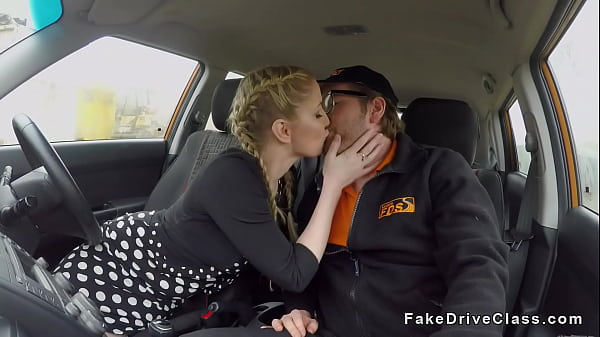 Busty blonde with pigtails bangs in car Thumb