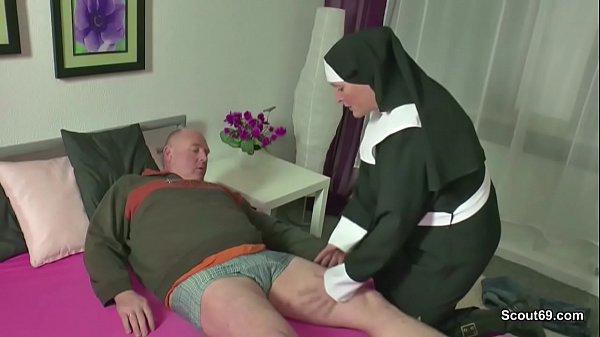 German MILF Nun Fuck With Stranger Old Man