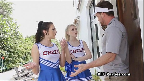 BFF cheerleaders on coaches dick