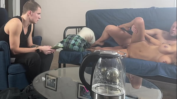 Cuckold watches his wife being fucked for money
