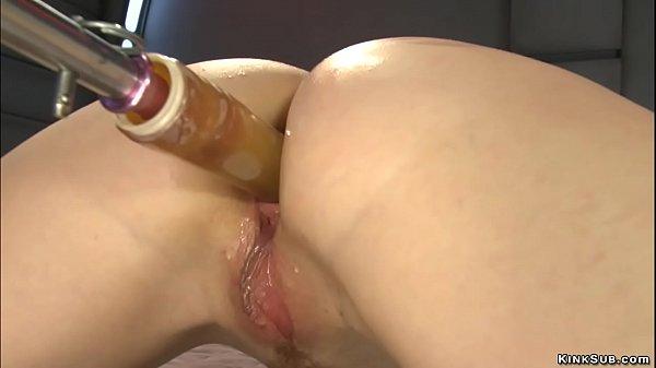 Redhead anal slut riding machine