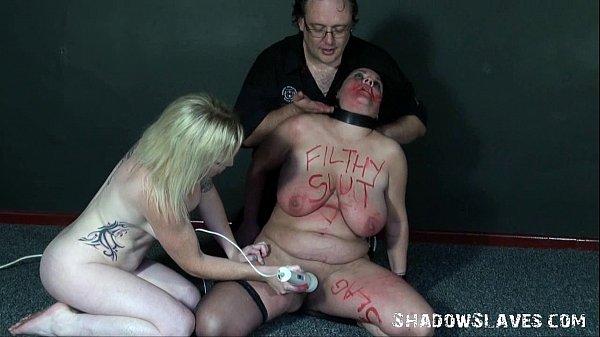 Bizarre lesbian domination sex of bbw amateur slave Andrea in lezdom sex toys