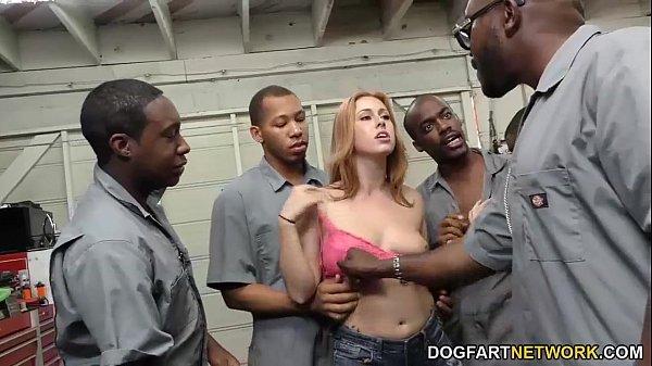 Edyn Blair sucks horny black mechanics to pay t...