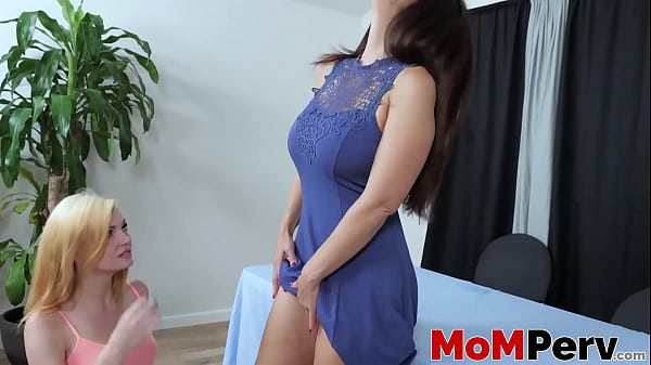 Lesbian pussy licking with busty stepmom and st...