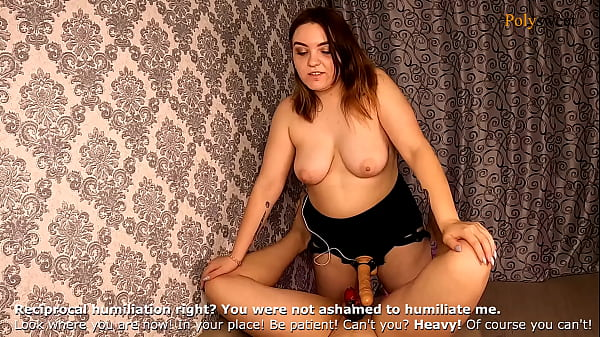 Humiliated a guy with a chastity belt and a huge strapon