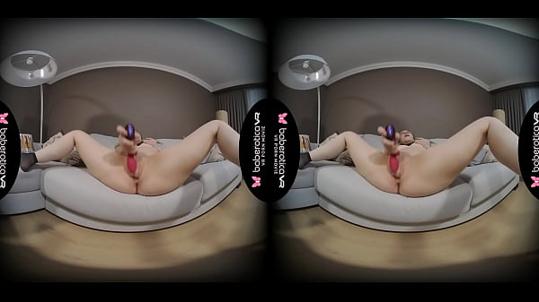 Solo blonde gal, Anastasia is masturbating again, in VR