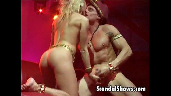 Wild blonde striper giving a blowjob