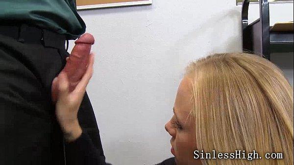 Blonde Teen Sucking Her Teacher'S Big Cock