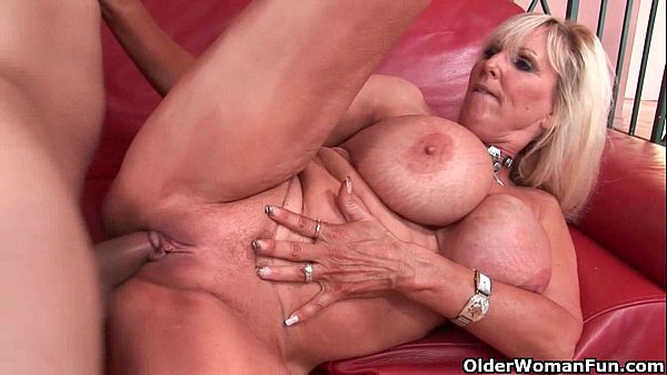 Mature milf Tia Gunn gets cum coating