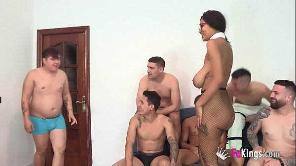 Tina's dream has come true: The busty Brazlian gal get GANGBANGED ANALLY BY 8 DICKS!