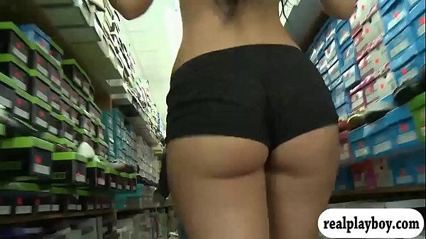 Sweet blonde gets fucked in local store
