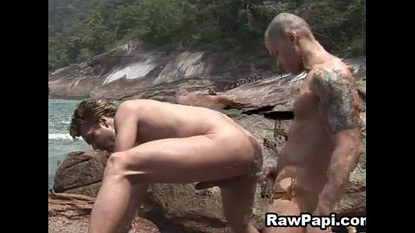 two hot rawpapi barebacking by the beach