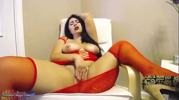 Big Butt Girl in Red Dress Passionate Fingering...