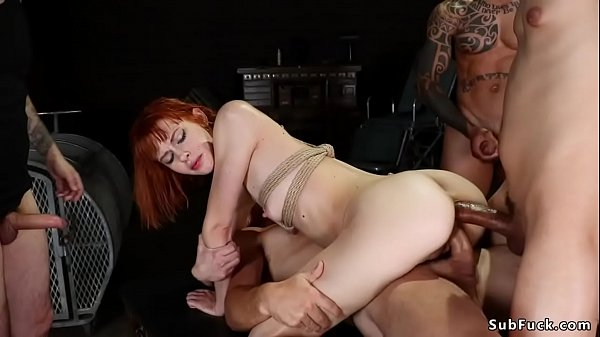 Tied redhead interracial gangbanged