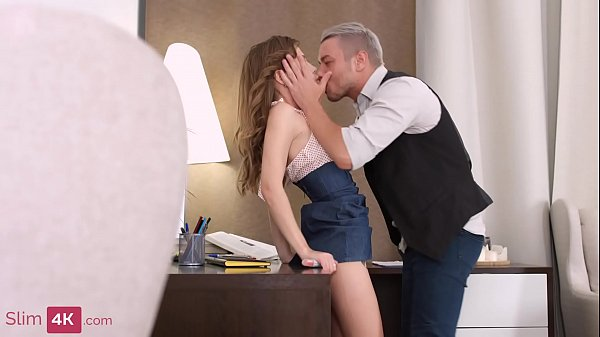 Adorable brunette secretary gets her ass ravaged by a kinky boss of hers
