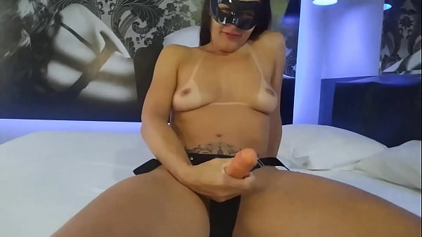 Wife humiliating her cuckold with strap on and telling him what she and he do together when they are eating