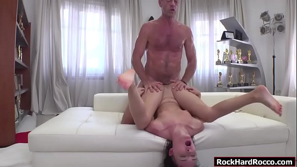 Russian brunette gets analed by big cock