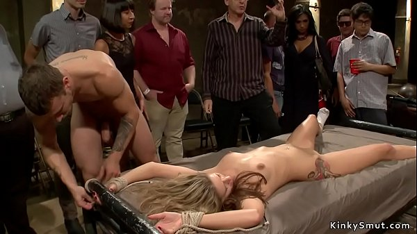 Tied blonde is fucked for public