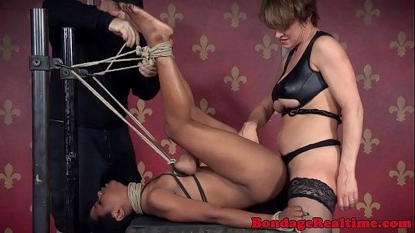 Ebony sub strapon fucked in bdsm trio