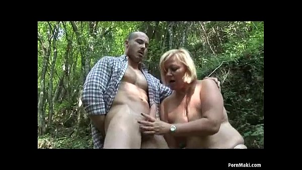 BBW granny gets fucked in the forest