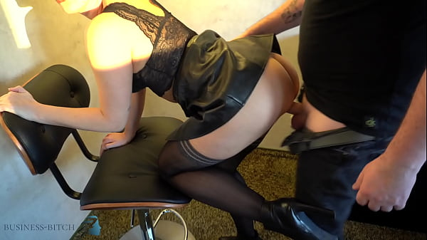 serious business woman slips into her hot leather skirt after work - ends with a huge sperm stain, business-bitch