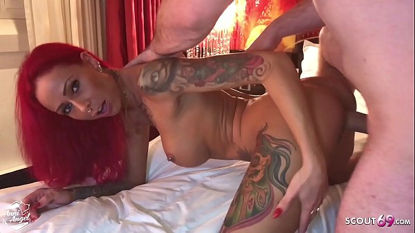 Redhead Fitness Tattoo Girl Rough No Condom Fuck by Stranger and get Massive Facial
