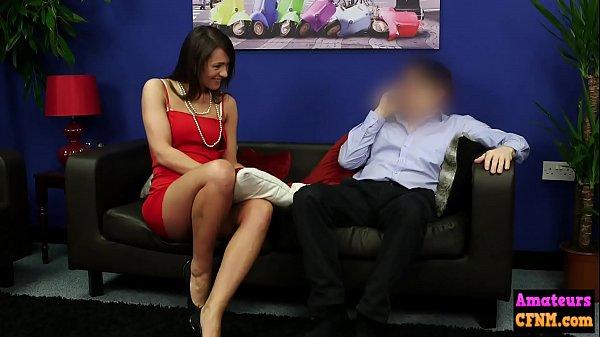 Sexy cfnm babe sucks on horny cock
