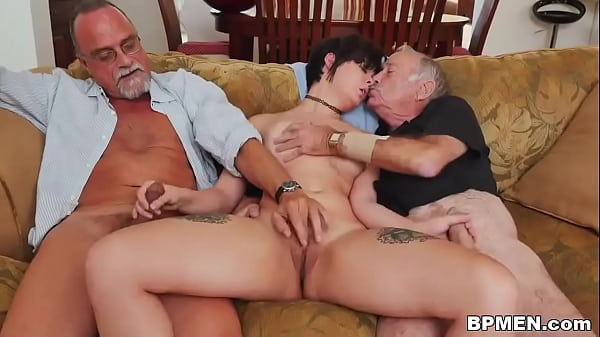 Two grandpas took some Viagra to fuck lovely br...
