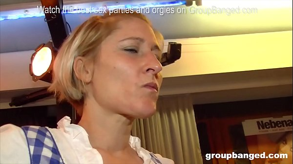 3 German mature sluts enjoy a bunch of cocks at...