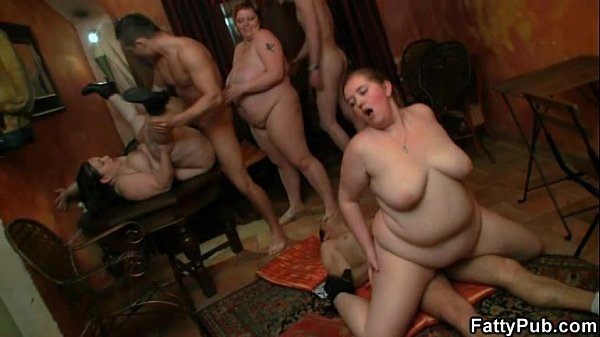 Fat girl takes two cocks at once