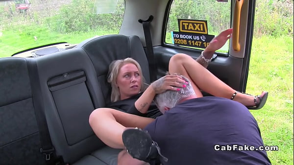 Blue eyed blonde rimming fake cab driver Thumb