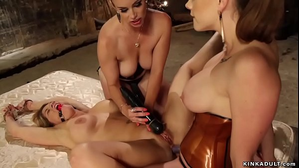 Gagged busty lesbian anal lezdom fucked
