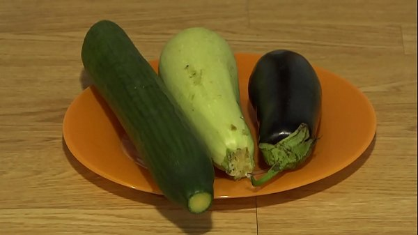 Organic anal masturbation with wide vegetables,...