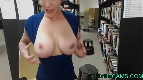Naughty college student masturbates in the library Thumb