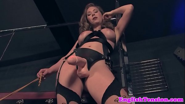 Dominating mistress pissing on pathetic sub