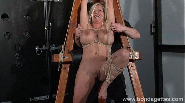 German rope slut Melanie Moons hogtied bondage and restrained busty submissive Thumb