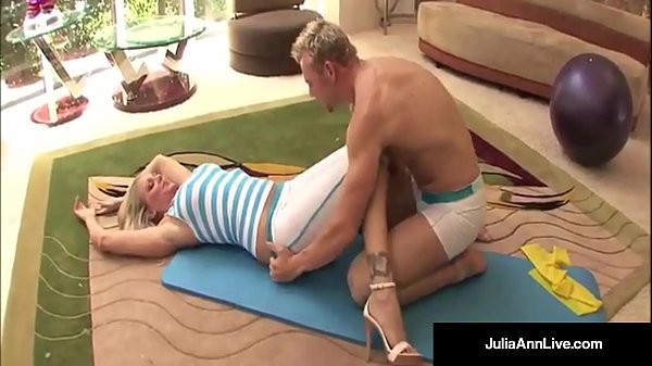 Julia Ann Bangs Yoga Instructor Gets A LOAD On Her Tits