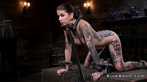 Alt slave in device bondage fingered