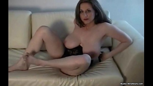 Busty Brunette Kitty Playing her Pussy