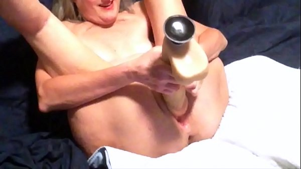 Horny Wife Toys With Her New Huge Dildo
