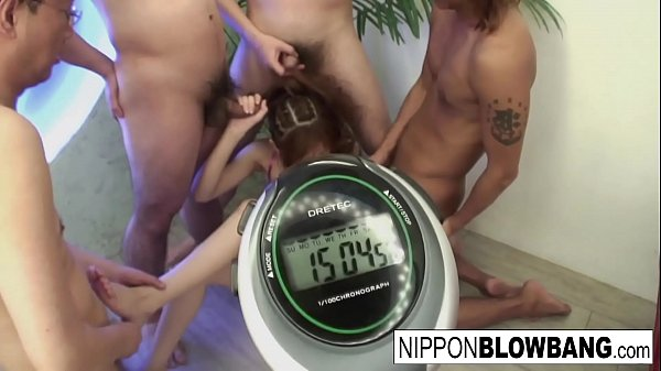 Teen gets put to the test when she has to pleasure 6 guys
