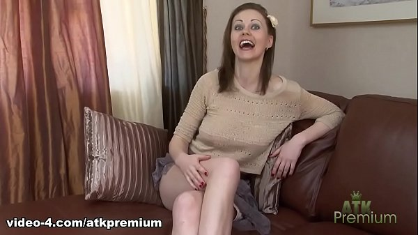 Young girl in short skirt no panties on the coach