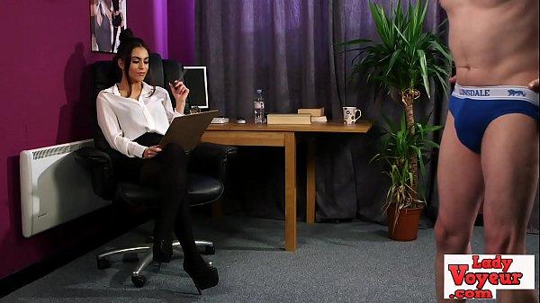 Stockinged office babe watches her sub wank Thumb