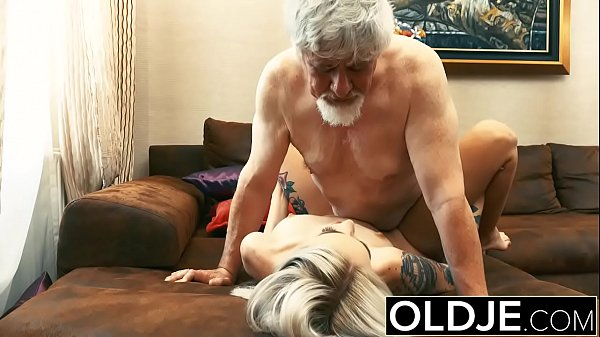Old and y. Blonde Fucked by Old man tight pussy...